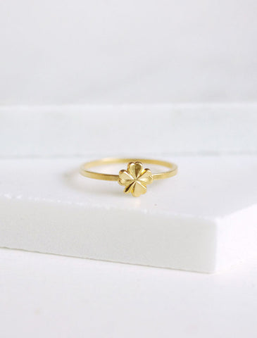 tiny gold clover stacking ring