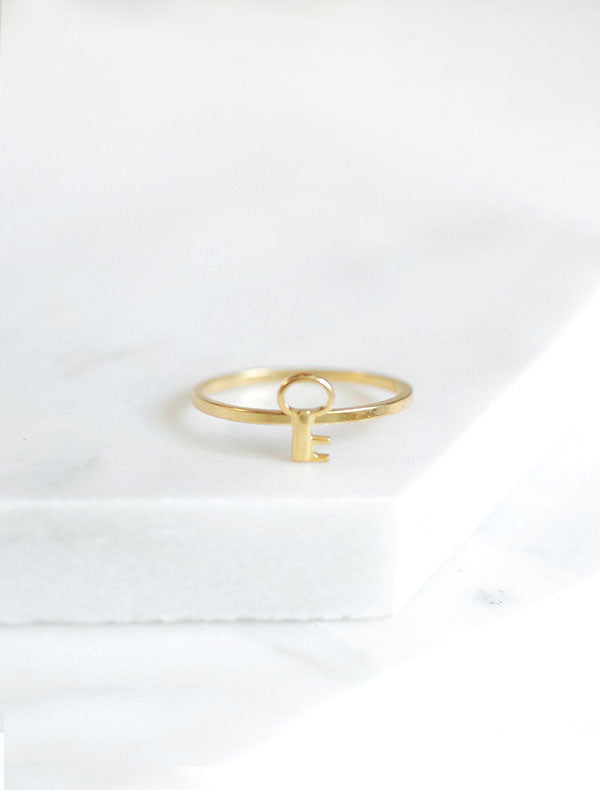 tiny gold key stacking ring