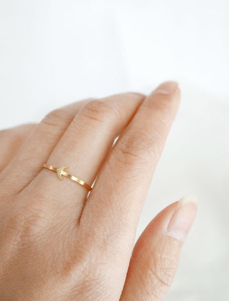gold crescent moon ring worn