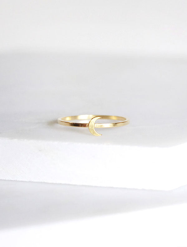 tiny gold moon stacking ring