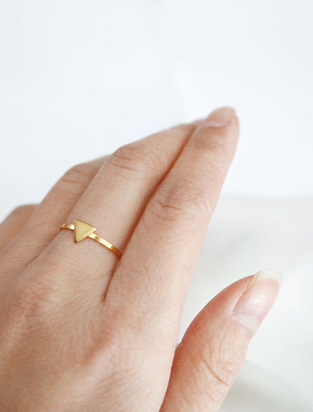 gold triangle ring worn