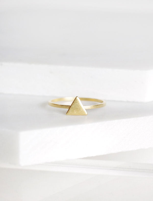 tiny gold triangle ring