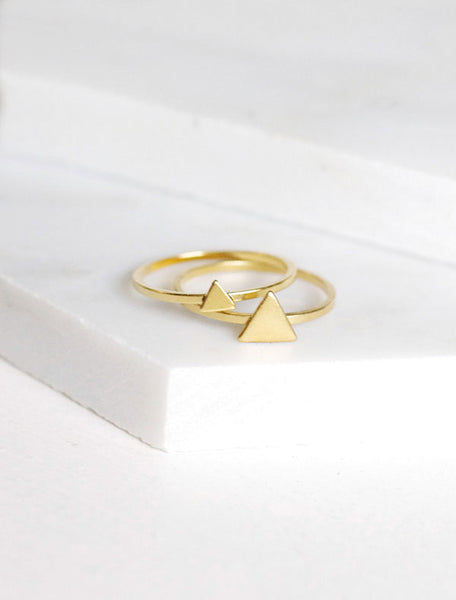 gold filled triangle ring set