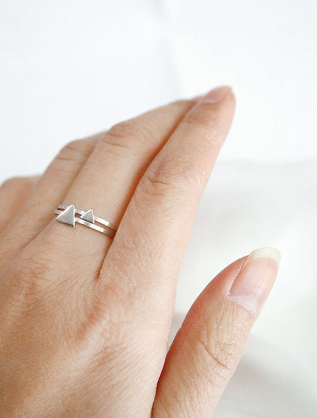 silver triangle ring set worn