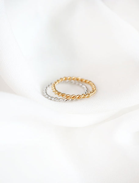 twisted rope rings gold and silver