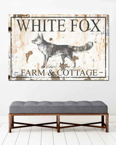 White Fox Cottage Farmhouse Decor Custom Canvas Art