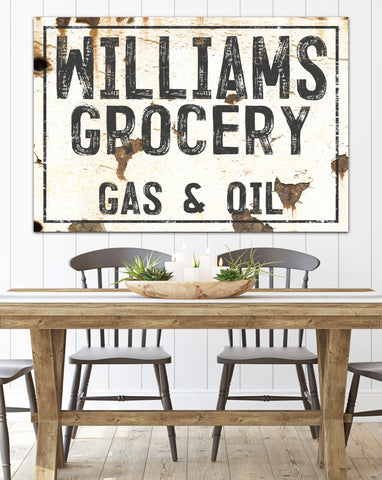 Personalized Williams Grocery Gas & Oil Wall Art - Modern Farmhouse Decor Canvas Prints