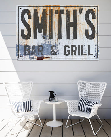 Metal Bar Outdoor Sign - Personalized Metal Signs - Family Name Wall Art