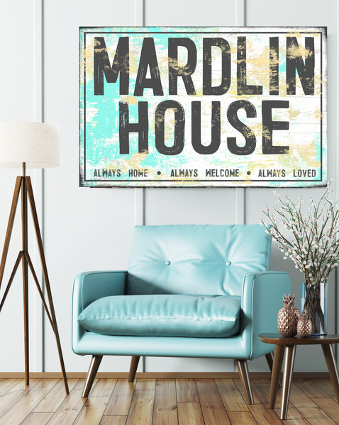 Turquoise Personalized Name Sign Canvas Art