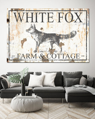 White Fox Cottage Personalized Farmhouse Decor Canvas Art