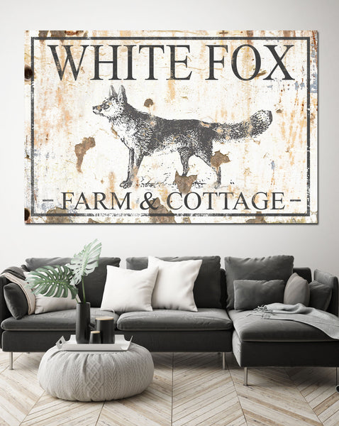 White Fox Farm & Cottage Farmhouse Decor - Canvas Print Wall Art
