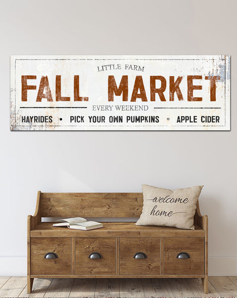 Fall Market Farmhouse Canvas Wall Art Vintage Sign