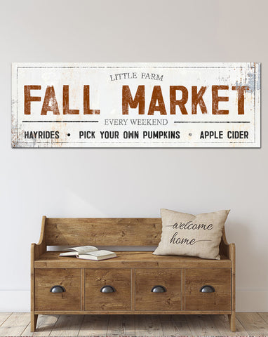 Fall Market Vintage Sign Canvas Print - Fall Wall Art Farmhouse Decor