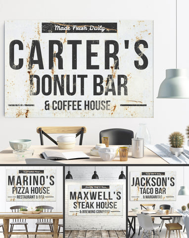 Donut Bar & Coffee House Personalized Name Sign - Farmhouse Decor Canvas Wall Art