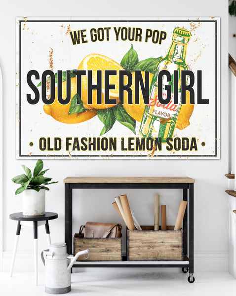 Lemon Soda Wall Art Farmhouse Kitchen Sign Canvas Print