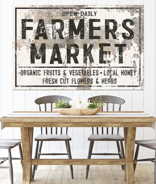 Farmers Market Farmhouse Wall Decor Canvas Sign