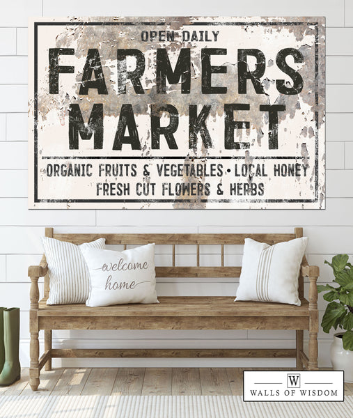 Farmers Market Farmhouse Decor Canvas Wall Art