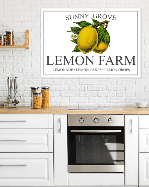 Vintage Lemon Canvas Wall Art - Farmhouse Kitchen Sign