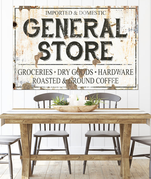General Store Farmhouse Kitchen Canvas Wall Art