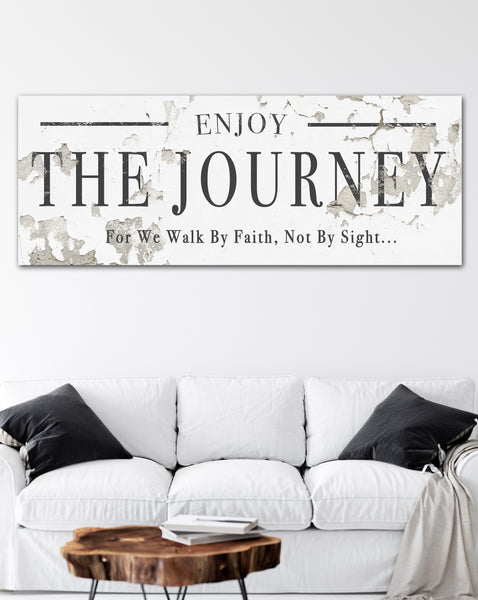 Walk by Faith Inspirational Farmhouse Decor Canvas Art