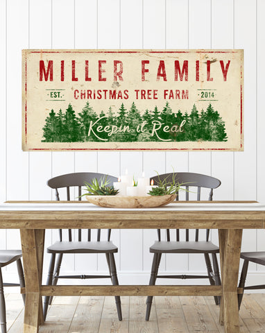 Personalized Christmas Tree Farm Canvas Wall Art - Farmhouse Decor Christmas Wall Decor