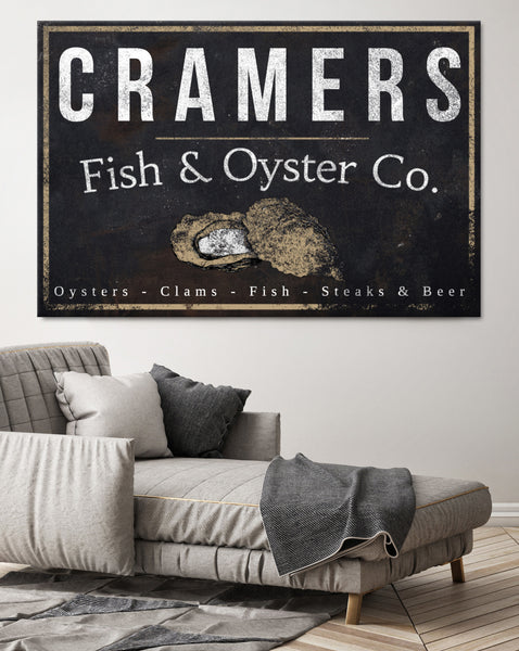 Personalized Vintage Sign - Fish & Oyster Co. Name Sign Canvas Print