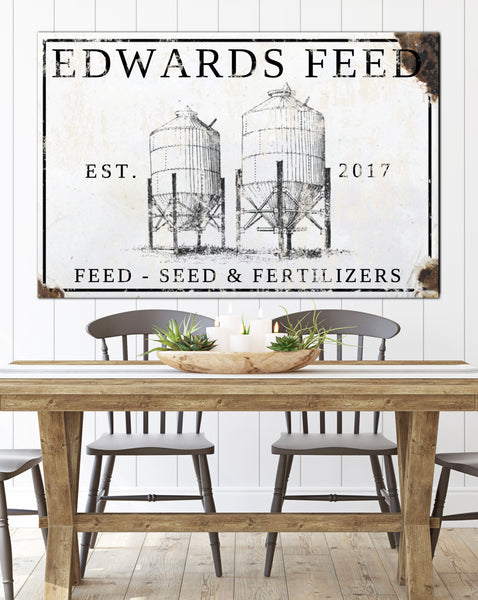 Silo Farm Personalized Family Sign - Vintage Signs Customized Name Sign Canvas Wall Art