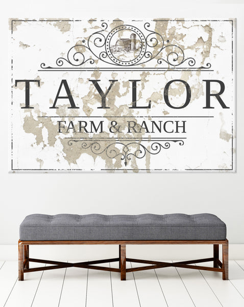 Personalized Name Canvas Wall Art Vintage Sign