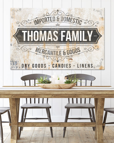 Personalized Family Name Signs - Mercantile Vintage Signs Canvas Prints
