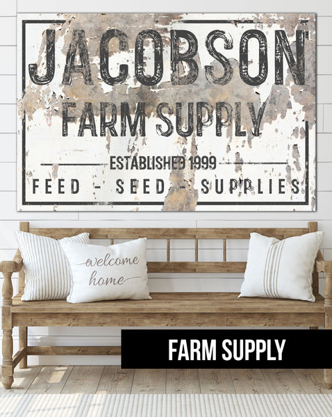 Personalized Family Name Sign Farmhouse Decor Canvas Wall Art