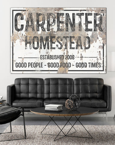 Custom Sign Homestead Last Name Canvas Wall Art - Personalized Family Established Sign