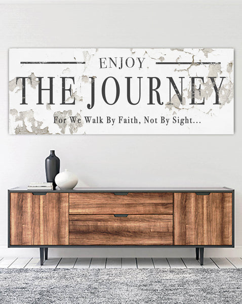 Enjoy the Journey Inspirational Farmhouse Decor Canvas Wall Art