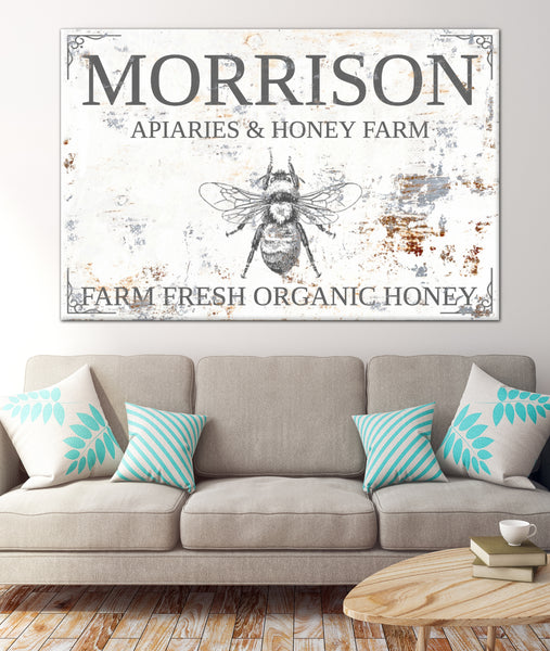 Honey Bee Farm Personalized Name Sign Canvas Wall Art  NLSC0128
