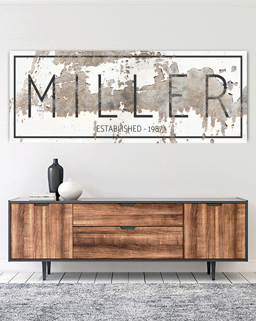 The Miller Sign Personalized Chippy Farmhouse Canvas Wall Art Nlsc01 Walls Of Wisdom