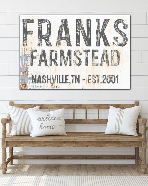 Personalized Homestead Sign Canvas Art by Walls of Wisdom