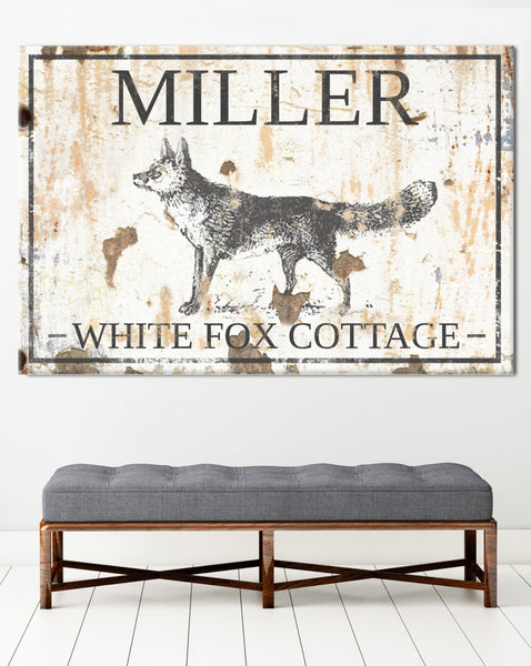 White Fox Cottage Custom Name Sign Canvas Wall Art