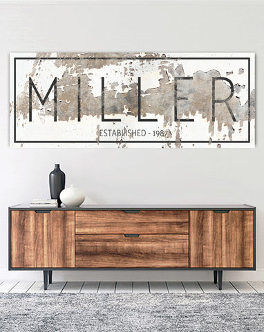 MILLER SIGN by Walls of Wisdom Personalized Canvas Wall Art