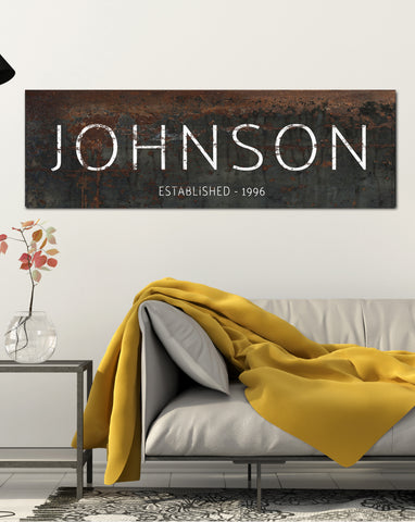 Personalized Family Name Wall Art - Black Canvas Prints Vintage Sign Name Sign