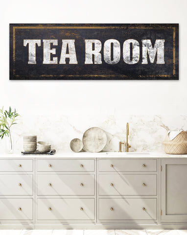 Tea Room Vintage Sign Canvas Wall Art Antique Sign Wall Decor Print