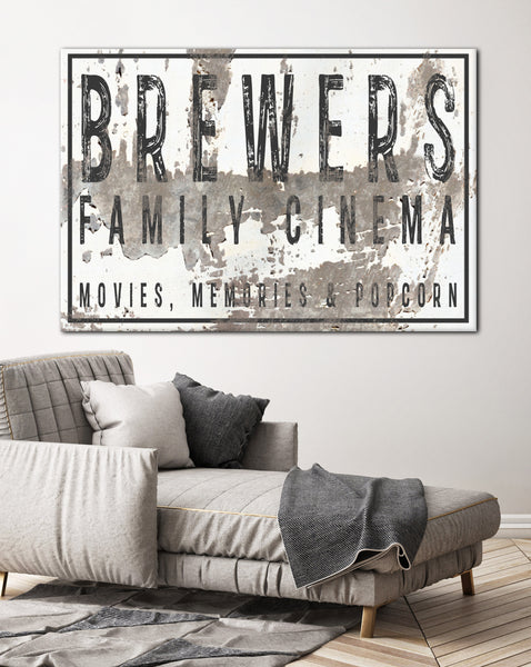 Personalized Home Theater Decor Wall Art Canvas - Last Name Sign