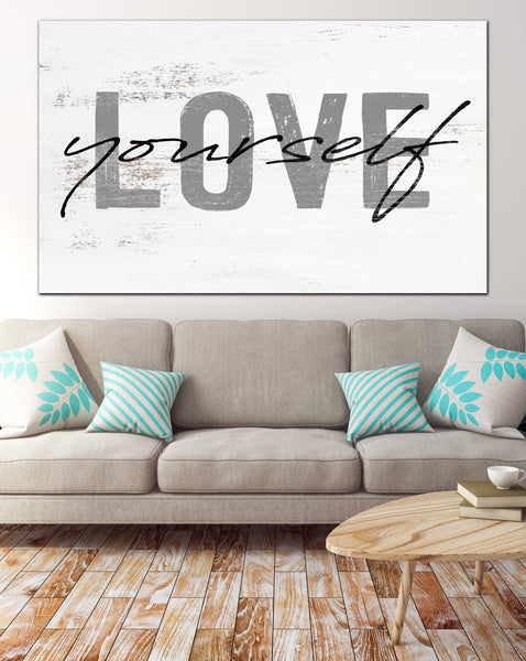 LOVE YOURSELF Farmhouse Decor Canvas Wall Art Motivational Art