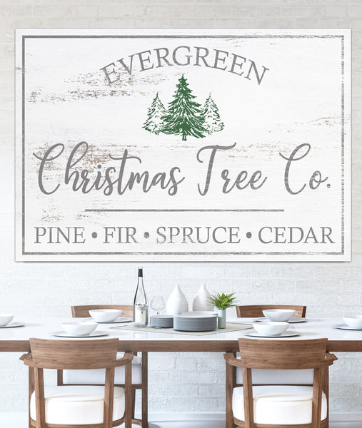 Farmhouse Christmas Tree Co Sign Canvas Wall Art