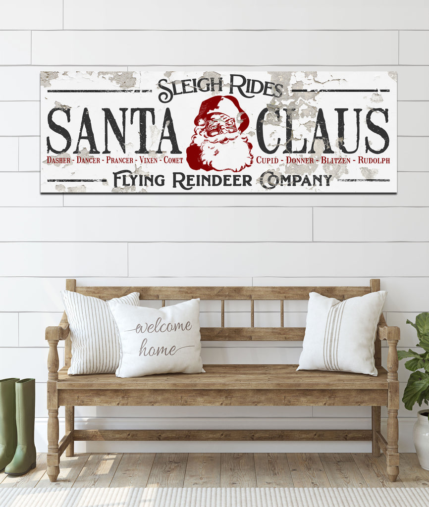 Modern Farmhouse Christmas Santa Sign - Sleigh Rides Reindeer Wall Art