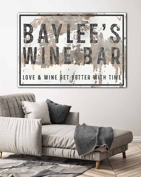 Personalized Vintage Bar Sign Canvas Art - Personalized Farmhouse Decor Wall Art