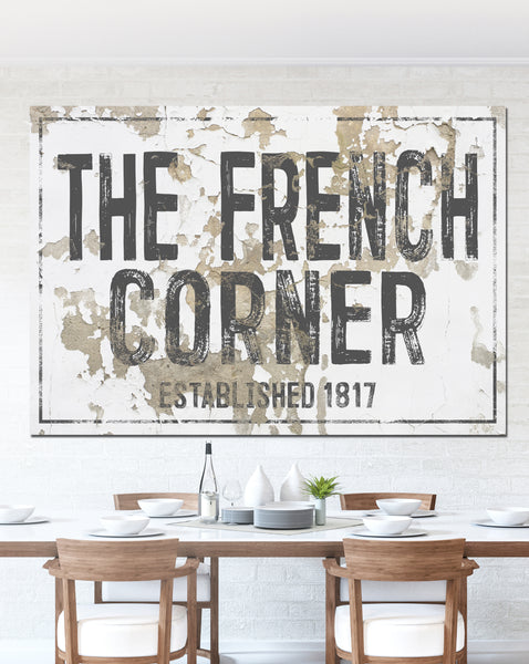 French Corner Farmhouse Style Wall Art Canvas Sign