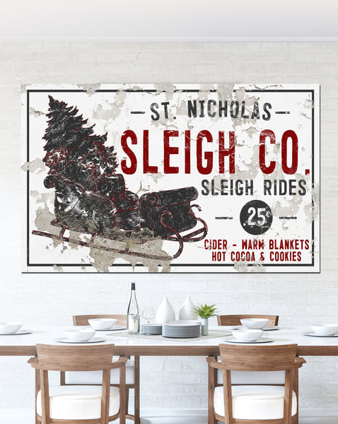 Sleigh Rides Farmhouse Decor Christmas Wall Art