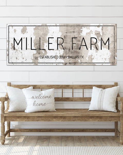 Industrial Style Chippy Farmhouse Personalized Canvas Wall Art NLSC0122