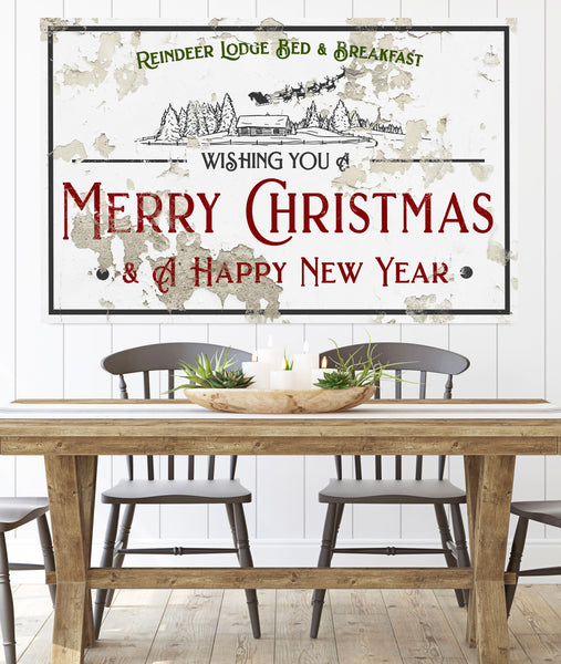Reindeer Lodge Bed & Breakfast Farmhouse Decor Christmas Wall Art