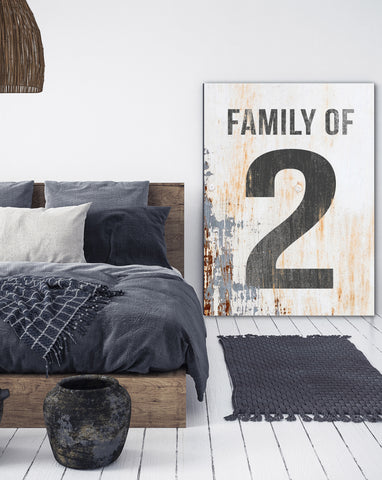 Family of 2 Number Sign - Family Number Sign Farmhouse Decor Canvas Print