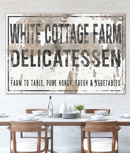 Personalized White Cottage Farm Farmhouse Canvas Wall Art - NLSC0125